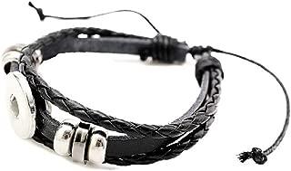 Pizazz Studios Adjustable Black Leather Snap Charm Bracelet