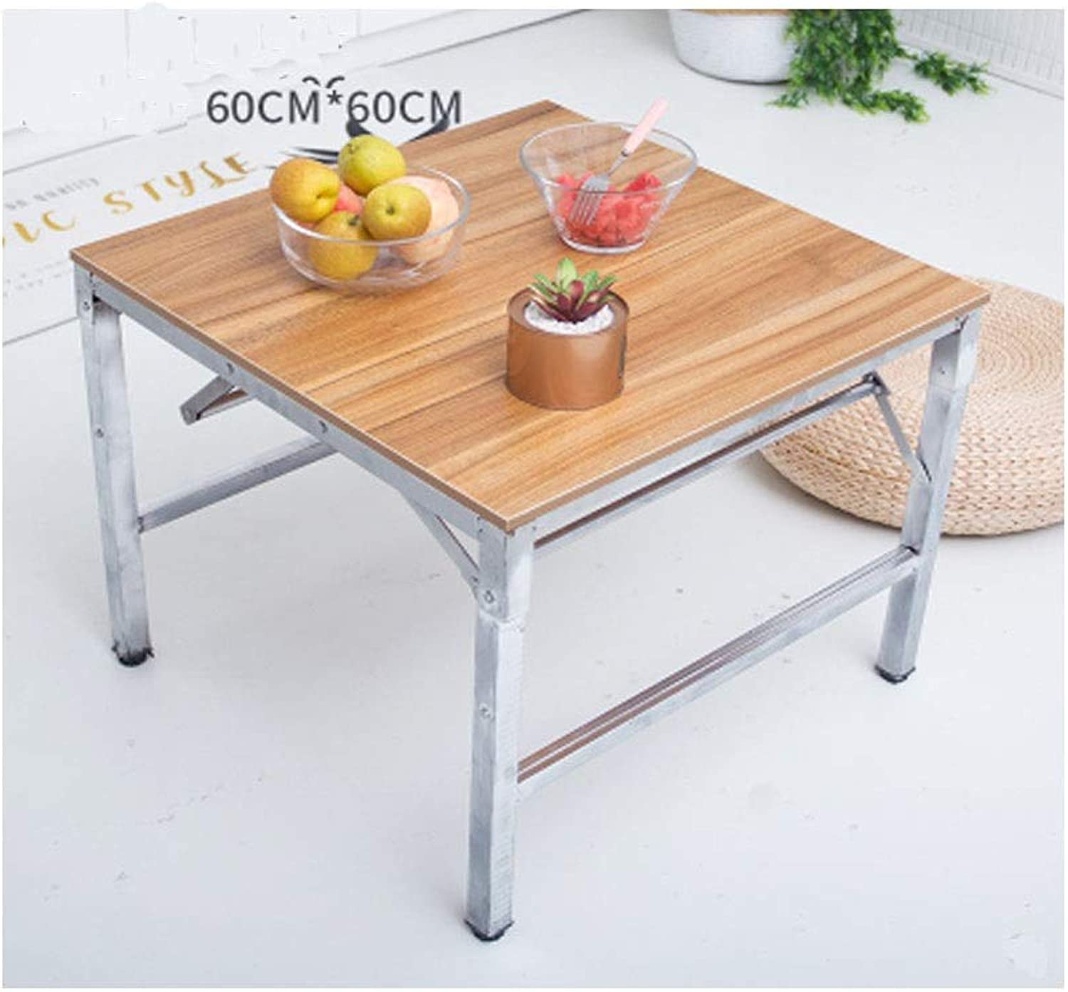 Table and Chairs, Folding Tables and Chairs, Multi-Functional Modern Minimalist Folding Table, Two Sizes are Available (color   Bronze, Size   60  60  50cm)