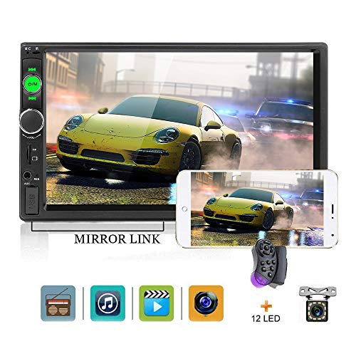 Double Din Car Stereo 7' HD Touch Screen Car Radio Bluetooth Indash Car Radio USB TF USB AUX FM Mirror Link Car MP5 Multimedia Player 2din Autoradio12 LED Car Backup Camera