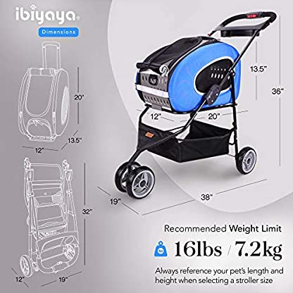 ibiyaya Multifunction Pet Carrier + Backpack + CarSeat + Pet Carrier Stroller + Carriers with Wheels for Dogs and Cats All in ONE (Blue) 5