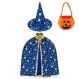 Jackcell Kinder Halloween Kostüm, Wizard Cape Witch Umhang mit Hut, Kürbis Candy Bag, Zauberer Mantel mit Requisiten für Jungen Mädchen Cosplay Party (Blau)