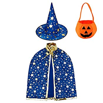 Wizard Cape Witch Cloak with Hat and Pumpkin Bag Halloween Costume Props for Kids Cosplay Party