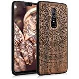 kwmobile Case Compatible with OnePlus 6 - Wood Case for Phone with TPU Bumper - Indian Sun Dark Brown