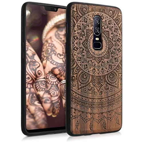 kwmobile Wooden Case Compatible with OnePlus 6 - TPU Bumper - Indian Sun Dark Brown