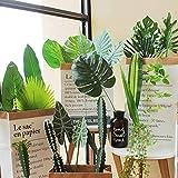 PietyPet 68 Stück 8 Arten Tropische Pflanze Palm Blätter Monsterablätter, Plastikpalmenblätter, künstliche Palmenblätter mit Stielen, für Hawaiische Luau Dschungel Strand Thema Tischdekoration - 6