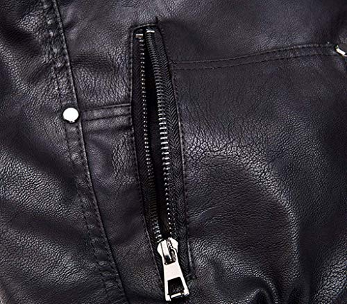Wantdo Men's Leather Jacket with Removable Hood US Large Black(Heavy)