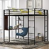 Full-Size Loft Bed Metal Frame with Desk and Ladder, Platform Loft Bed for Kids, No Box Spring Needed (Black)