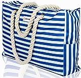 Beach Bag XL. 100% Waterproof (IP64). L22 xH15 xW6 w Cotton Rope Handles, Top Zipper, Extra Outside Pocket. Blue Stripes Beach Tote Includes Waterproof Phone Case, Built-in Key Holder, Bottle Opener