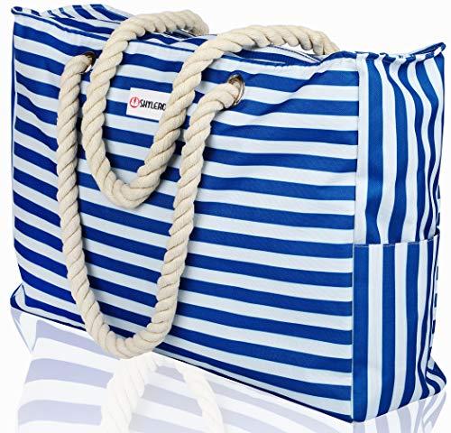 Beach Bag XL. 100% Waterproof (IP64). L22 xH15 xW6 w Cotton Rope Handles, Top Zipper, Extra Outside