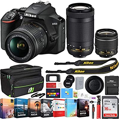 Nikon D3500 24.2MP DSLR Camera w/AF-P 18-55mm VR Lens & 70-300mm Dual Zoom Lens - (Renewed) + 16GB Bundle by Nikon