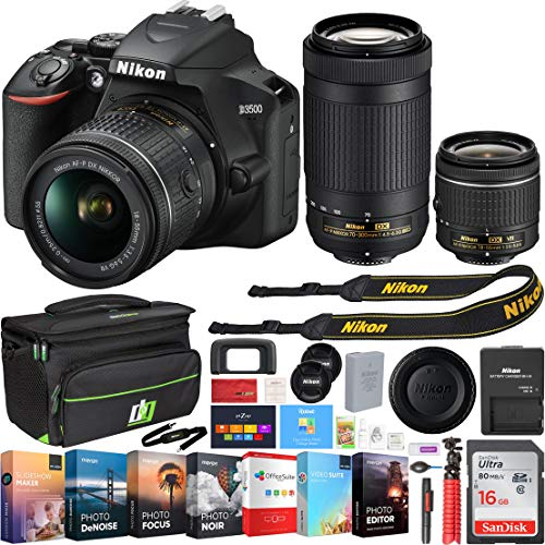 Nikon D3500 24.2MP DSLR Camera w/AF-P 18-55mm VR Lens & 70-300mm Dual Zoom Lens - (Renewed) + 16GB Bundle