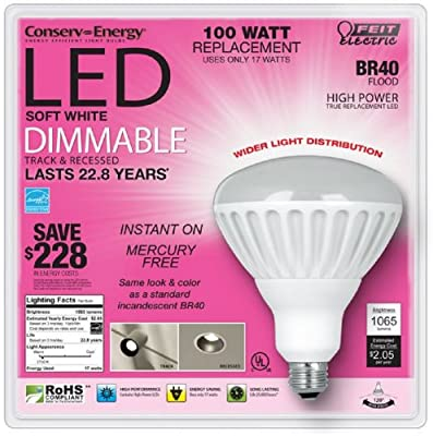 Feit Electric Conserv-Energy Dimmable BR40 LED 17 Watt Flood Light Bulb - 100 Watt Equivalent Replacement