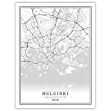 SJAKMA Finnland Helsinki-Map Stadt Vlies Poster Wandbild,
