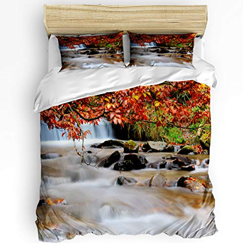 Queen Area 3 Pcs Full Duvet Cover Set - Autumn Waterfall and Stream Flowing in The Forest Over Mossy Rocks Soft Breathable Bedding Set with Zipper Closure and 2 Pillow Shams (Not Including Comforter)