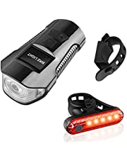 Bike Light Set,Super Bright Front Headlight and LED Rear Bicycle Light, Bicycle Headlight with Horn,USB Rechargeable Bike Front Light and Tail Light,Fits All Mountain & Road Bike (Black-A)