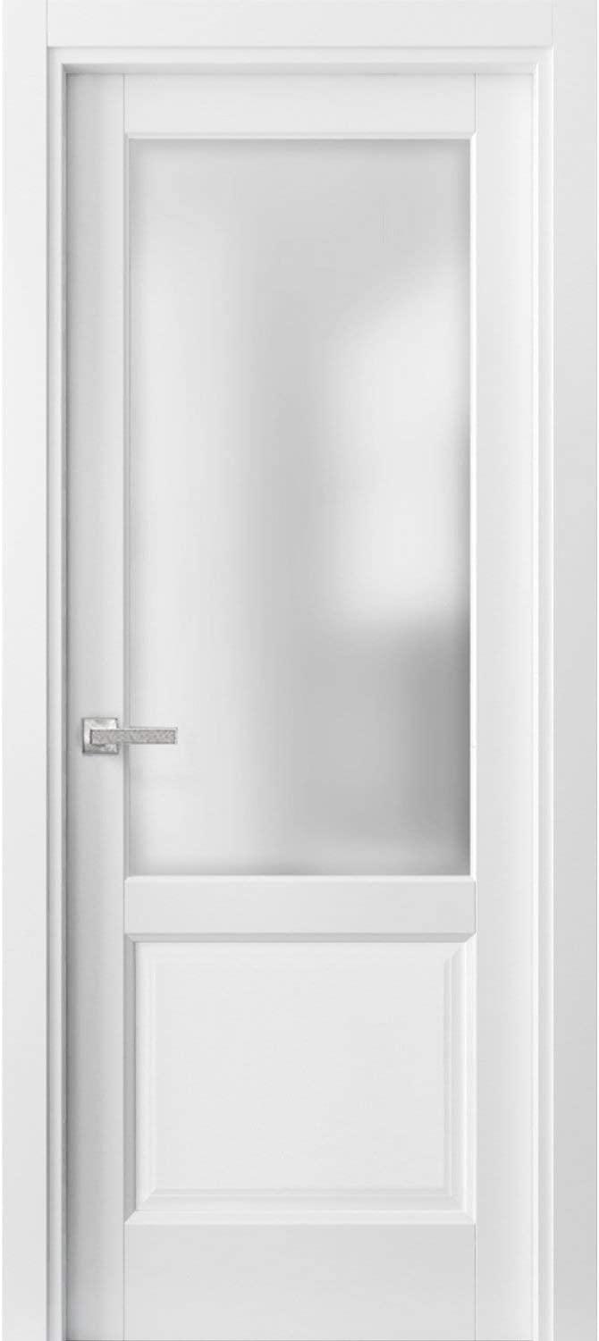 Pantry Kitchen Lite Door 28 x 80 with Hardware   Lucia 22 Matte White with Frosted Opaque Glass   Single Panel Frame Trims   Bathroom Bedroom Sturdy Doors