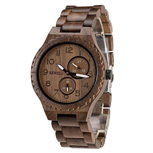 BEWELL Orologio in legno W154A, orologio da polso in legno naturale con orologio da polso stile retrò con orologio luminoso da uomo in legno di sandalo con puntatore