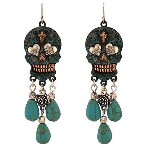 Turquoise Stone Dangling Sugar Skull Fish Hook Earrings (Large / Patina)