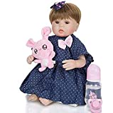 GAOFQ 17 Pouces 42Cm Reborn Baby Doll, Soft Silicone Vinyl Cute Newborn Girl Dolls Fashion Blue Denim Skirt with White Dots Children's Day Aimet Sucette