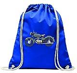 Druckerlebnis24 Turnbeutel Kunst- Fahrrad- Klassiker- ANTRIEB- FLACH SCHATTIERTE- Motorrad- Retro- FAHRT- STRAßE- Transport- Fahrzeug mit Kordel - 100% Baumwolle- Gymbag- Rucksack- Sportbeutel