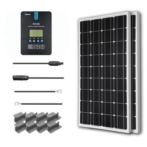 Renogy Kit Solaire 200W 12V + Régulateur 40A MPPT + Cables et connecteurs MC4