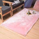 Superweicher Kunstfell-Imitat, Shaggy-Teppich, für Schlafzimmer, maschinenwaschbar, flauschige Matte 2ft x 3ft rectangle babyrosa