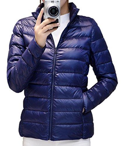 Geval Femme Compressible Doudoune Ultra Léger Court Down Coat XS Bleu Marine