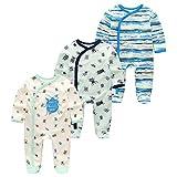 Kiddiezoom Baby- und Kleinkind-Schlafanzug für Jungen mit Fuß, Baumwolle, 3er-Pack Gr. 80, Marienkäfer/Camouflage