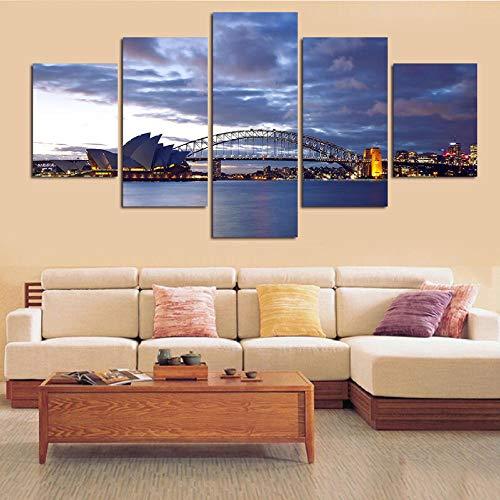 Chihie 5 Panels Seascape Painting Moderne Wandkunst Leinwand Segelbilder für Wandbehang Wandbilder für Wohnzimmer Dekor 30x50cmx2 30x70cmx2 30x80cmx1 Kein Rahmen