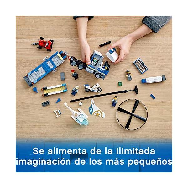 LEGO City Police - Policía: Camión de Transporte del Helicóptero, Juguete de Construcción de Aventuras, con un Helicóptero, una Moto, un Quad y Minifiguras (60244)