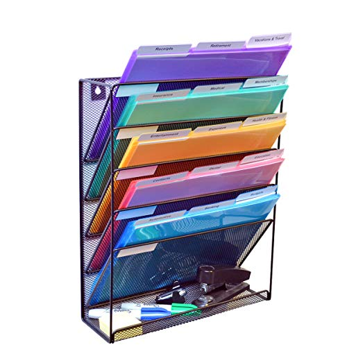 Ultimate Office Mesh Wall File Organizer 5 Tier Vertical Mount Hanging File Sorter Rack with Accessory Tray. Includes 18, 3rd Cut PocketFile Clear Document Folder Project Pockets (Black)