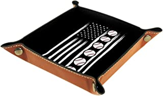Baseball American Flag Dice Tray Metal Dice Rolling Tray Holder Storage Box for Table Games