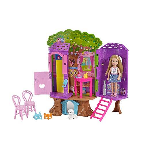 Barbie FPF83 Chelsea Baumhaus Spielset und Puppe, Multicolour