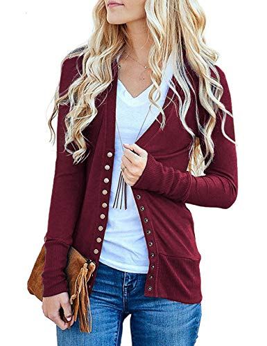 Traleubie Women's Long Sleeve V-Neck Button Down Knit Open Front Cardigan Sweater Burgundy XL