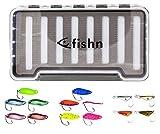 FISHINGGHOST 13x Trout Spoons & 1x Blinkerbox - Set, bestehend aus 14 Kunstköder und Einer Köderbox, Forellenköder, Forellenspoon, Forellenblinker zum Angeln – perfekt zum Spinnfischen (14-teilig)