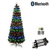 Shatchi 6055-FIBRE-OPTIC-BLUETOOTH-TREE-2FT Smart App Bluetooth 2ft Pre-Lit LED fibra óptica Árbol de Navidad 8 modos/temporizador/luces BRGHTNESS Control Navidad decoraciones 60 cm, verde