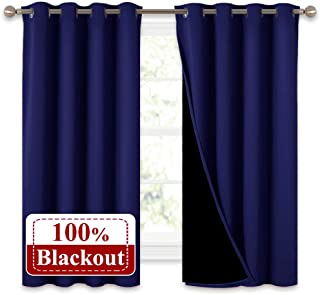 """NICETOWN 100% Blackout Curtain Panels, Thermal Insulated Black Liner Curtains for Nursery Room, Noise Reducing and Heat Blocking Drapes for Windows (Navy Blue, Set of 2, 52"""" Wide by 63"""" Long)"""