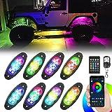 RGB LED Rock Lights, 8 Pods Multicolor Chasing Neon Underglow Waterproof Music Lighting Kit with APP & RF Control for Jeep Car Truck ATV RZR UTV SUV