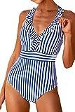 CUPSHE Women's Blue White Stripe Ruffled One Piece Swimsuit Medium
