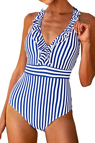 CUPSHE Women's Blue White Stripe Ruffled One Piece Swimsuit Medium