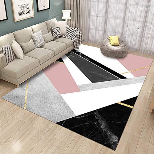 WQ-BBB Absorbente higroscópico Salón Alfombras Diseño geométrico superpuesto Escalonado fácil de Mantener Rugs Negro Gris Blanco Oro Rosa alfombras Infantiles 160X230cm