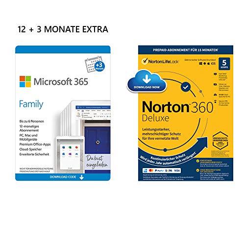 Microsoft 365 Family 12+3 Monate | 6 Nutzer | Mehrere PCs/Macs, Tablets & mobile Geräte | Download Code + NORTON 360 Deluxe | 5 Geräte | 15 Monate mit Automatischer Verlängerung| Download Code
