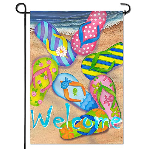Anley  Double Sided  Premium Garden Flag, Flip Flops on Summer Beach Welcome Decorative Garden Flags - Weather Resistant & Double Stitched - 18 x 12.5 Inch