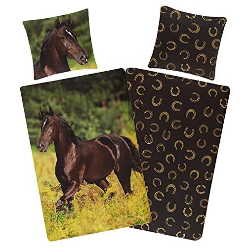 Aminata Kids Bettwäsche-Set Pferd 135 x 200 cm + 80 x 80 cm aus Baumwolle mit Reißverschluss, unsere Kinder-Bettwäsche mit Pferdebettwäsche-Motiv ist weich, kuschelig Pferde-Motiv