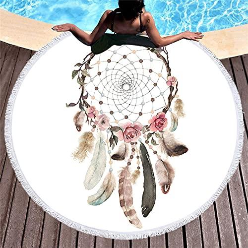 Toalla De Playa Redonda, Patrón De Atrapasueños De Impresión Digital, Toalla De Microfibra, Tapete De Playa Absorbente De Secado Rápido, Tapete De Picnic 150 * 150cm