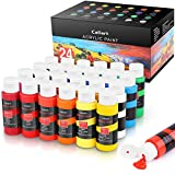 Acrylic Paint Set, Caliart 24 Vivid Colors (59ml, 2oz) Art Craft Paint Supplies for Canvas Wood Ceramic Rock Painting,...