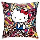 nxnx Hello Kitty - Juego de fundas de cojín decorativas de 45,7 x 45,7 cm, forma cuadrada