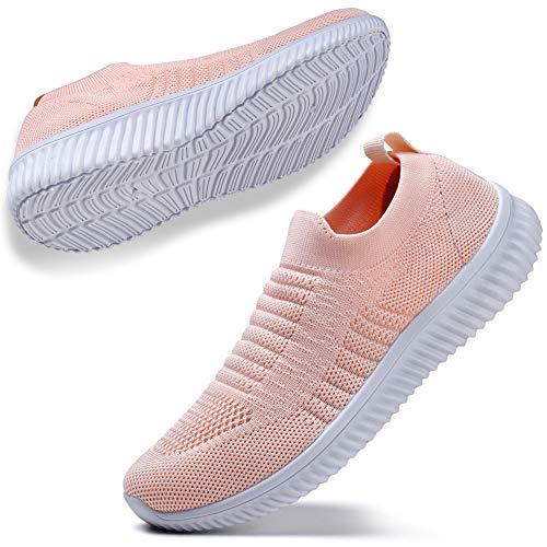 STQ Wanderschuhe für Damen Sportlich Freizeit Tennis Sneaker Turnschuhe Fashion Atmungsaktiv Leichtgewichtig Sportshuhe(Alles Pink 37)
