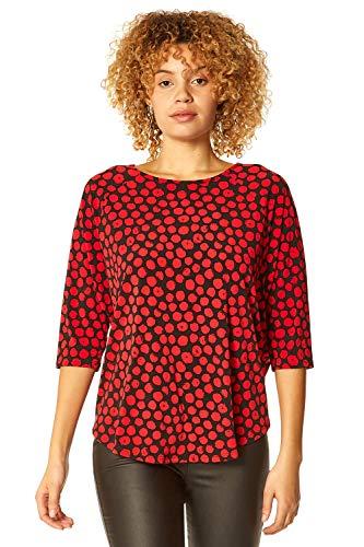 Roman Originals Women Polka Dot Spot Print 3/4 Sleeve Top - Ladies Round-Neck3/4 Length Sleeve Work Daytime Evening Smart Casual Blouse Tunic Top - Red - Size 14