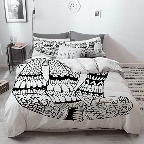 3 Piece Duvet Cover Set No Wrinkle Ultra Soft Bedding Set,Sloth,Sloth Figure with Artistic Ornamental Details Tropical Animal in Ethnic Tribal St,2 pillowcase 50 x 75cm 1 Pc Bed sheet 230 x 220cm